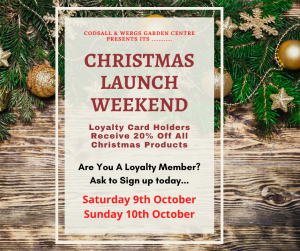 Christmas Launch Event October 9th & 10th @ Codsall & Wergs Garden Centre